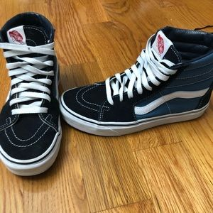Vans Shoes - black and blue high top vans, worn once
